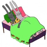 Cartoon Rabbits in bed - snug as a bug in a rug